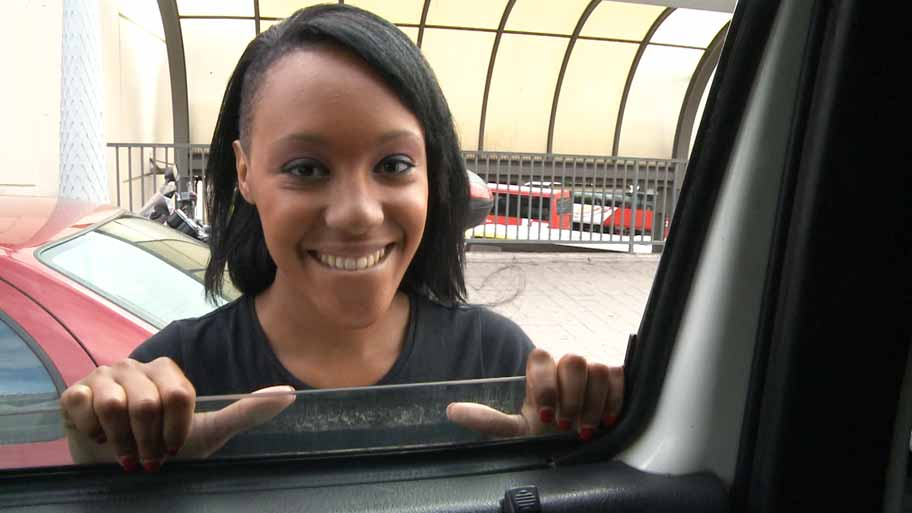 Stunning ebony girl fucking in a van