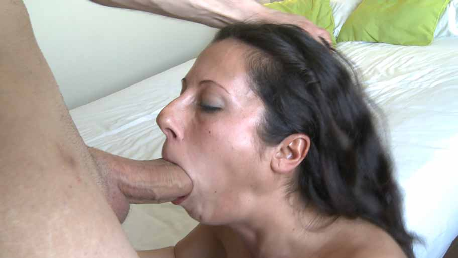Horny brunette enjoys a big young cock